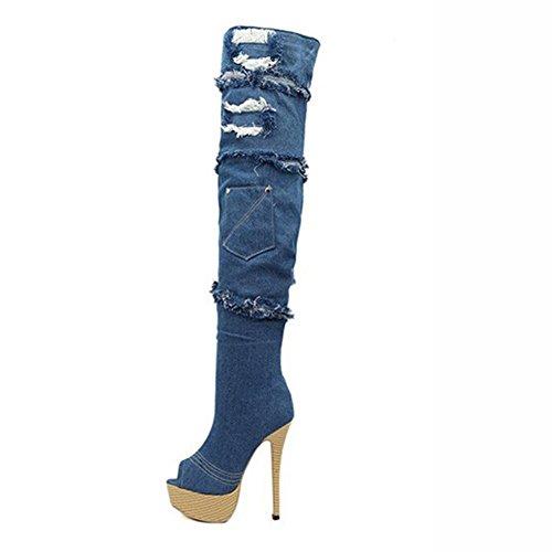 Cuero L Botas para El YC Azul Casual OtoñO Vestido TacóN De SintéTico De Moda De Aguja Blue Mujer Invierno ROqRwrYH