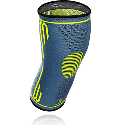 - Benmarck Knee Compression Sleeve, Support Brace, Arthritis and Meniscus Pain Relief for Running Sports Crossfit Squats, Best for Runners Men Women by (Fjord Blue, Medium)
