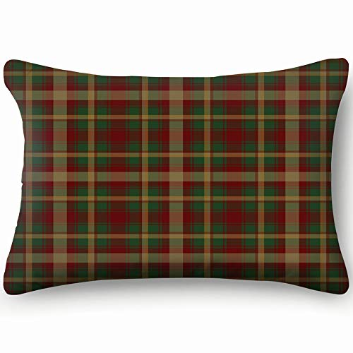 Canada Maple Leaf Tartan Abstract Vintage Pillowcases Decorative Pillow Covers Soft and Cozy, Standard Size 14