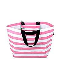 Stylish Beach Swim Bag Lightweight Practical Medium Carry-all Tote Bag Pink Stripe