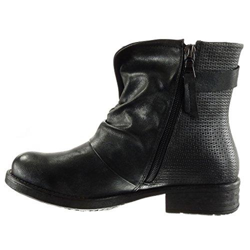Angkorly - damen Schuhe Stiefeletten - Biker - Reitstiefel - Kavalier - Classic - Geflochten - große Tasten Blockabsatz 3 CM Schwarz