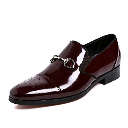 Santimon Slip Brogue Toe Loafers Men's Shoes Cap Penny On Red Leather Patent Walk qqOa6wr