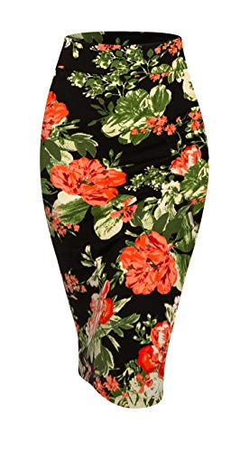 Made By Johnny MBJ WB2121 Women's Elastic Waist Stretch Bodycon Midi Pencil Skirt L Black_RED