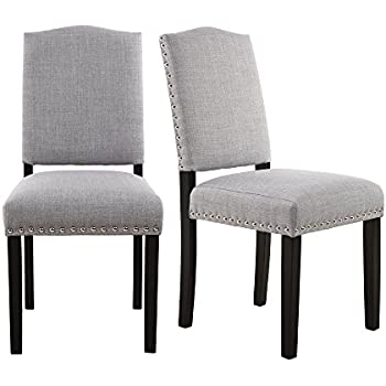 LSSBOUGHT Simple Modern Dining Chairs With Solid Wood Legs And Nailhead Detail Set Of 2