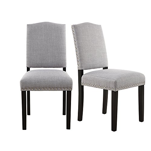 LSSBOUGHT Simple Modern Dining Chairs with Solid Wood Legs and Nailhead Detail, Set of 2 (Light  ...