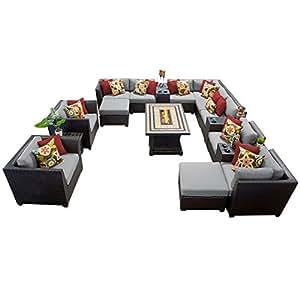 TK Classics barbados-17b-grey Barbados 17piece al aire libre mimbre muebles de jardín de