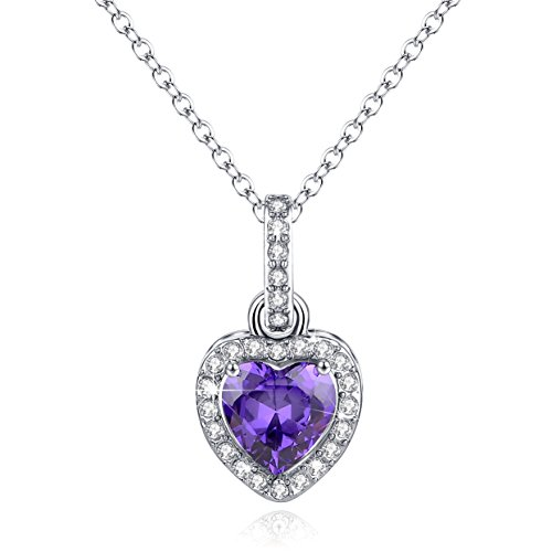 [Heart Necklace Simulated Amethyst Birthstone Pendant Purple February Jewelry Birthday Gift for Women] (Citrine Amethyst Diamond Heart)