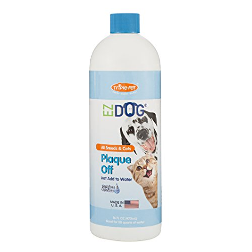 EZ DOG Plaque Off Fresh Breath All-Natural Drinking Water Additive for Dogs and Cats | Best Water Additive For All Cats and Dogs, 16 ounces