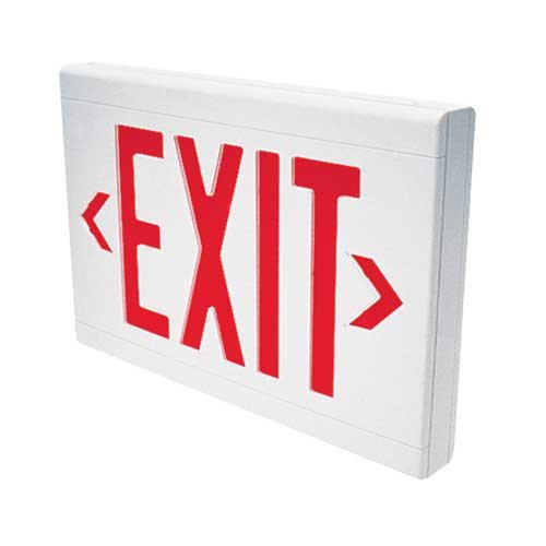 Dual-Lite LXURWEI LED Exit Sign, Red Letters Low Profile Single/Double Face w/Spectron - White