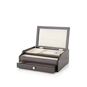 Nathan Direct Bal 1 Drawer Jewelry Box with Ring Holders, Compartments, Earring Holders, and 1 Open Tray, Black