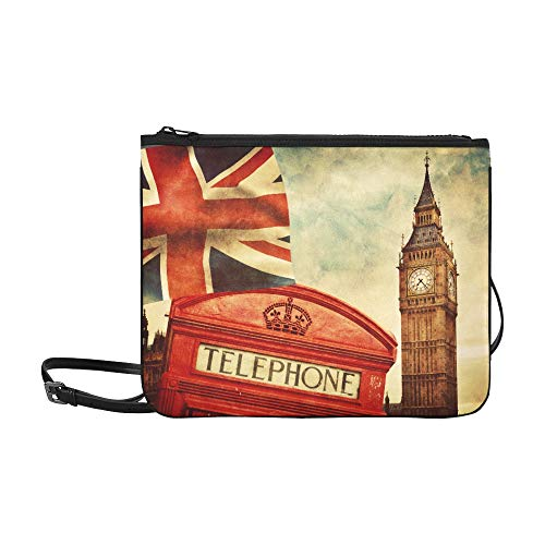 London England Uk Red Telephone Booth Big Ben Nat Pattern Custom High-grade Nylon Slim Clutch Bag Cross-body Bag Shoulder ()