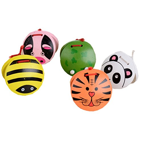 Winzik Wooden Castanets 5pcs Colorful Cartoon Random Pattern Finger Musical Toy Rhythm Musical Percussion Instrument for Baby Kids Children Early Education