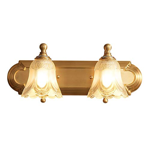 (Sunny lingt Copper Household Simple Bathroom Mirror Front Lighting Crystal Wall Lamp European Warm Personality Simple Bathroom Double Mirror Cabinet Decorative Wall Lamp)