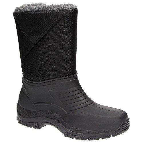 Snowfun 8420DG Herren Schnee-Boots Winter-Stiefel Warmfutter wasserabweisend Schuhe Schwarz Schwarz