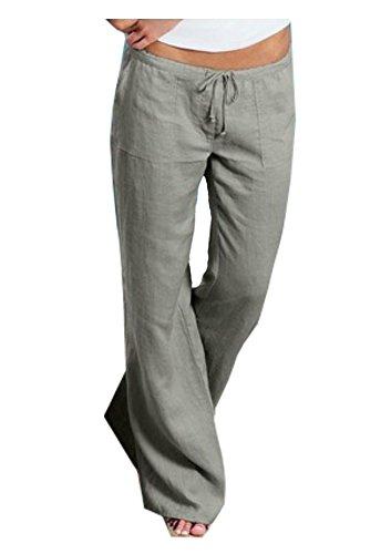Summer Linen Suit (Natsuki Women Pants Linen Drawstring Elastic Waist Flare Wide Leg Loose Trousers Grey L)