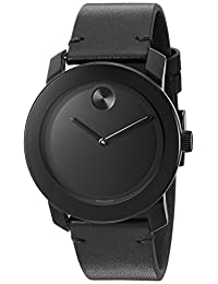 Movado Men's Swiss Quartz Stainless Steel and Leather Watch, Color: Black (Model: 3600306)