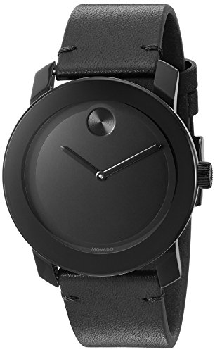 Movado Men's Swiss Quartz Stainless Steel & Leather Watch Color Black Deal (Large Image)