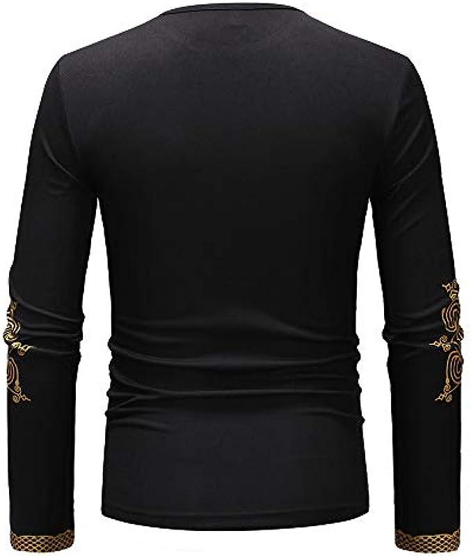 FRAUIT męska koszulka z długim rękawem z afrykańskim nadrukiem: Odzież