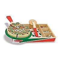 Melissa & Doug Pizza Party Comida de juego de madera, juego de pizza de juego de fantasía, lengüetas autoadhesivas, 54+ piezas, 1.8 ″ H × 9 ″ An × 13.3 ″ L