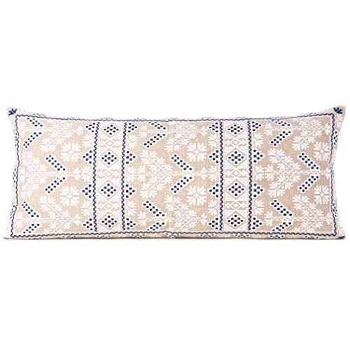 Eyes of India - 14 X 32 Cream Blue Moroccan Bolster Long Lumbar Sofa Couch Pillow Cover Cushion Cover ONLY (Pillows Couch Long Extra)
