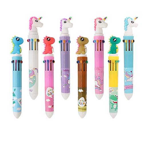 Shuttle Pens Ballpoint Pen Retractable Gel Pen 10-in-1 Shuttle Pens Leaflai 8 Multicolor Dinosaur Unicorn 0.5mm Liquid Ink Pens for Office School Supplies Students Children Gift (8PCS-A)]()
