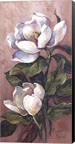 Magnolia Accents l by Barbara Mock Canvas Art Wall Picture, Museum Wrapped with Black Sides, 12 x 24 inches