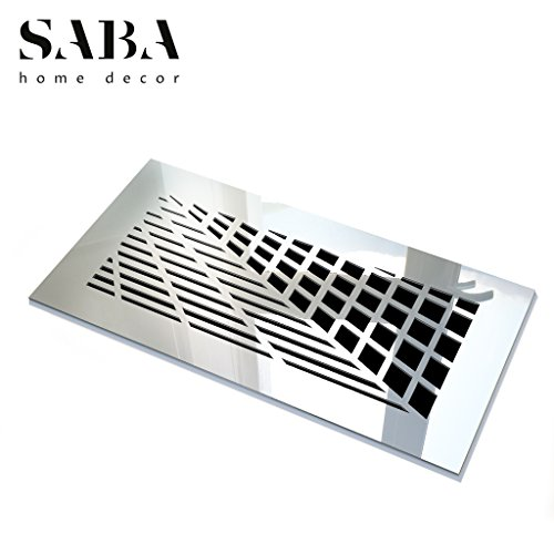 SABA Air Vent Covers Register - Acrylic Fiberglass Grille 14'' x 6'' Duct Opening (17'' x 9'' Overall) Silver Mirror Finish Decorative Cover for Walls and Ceilings (not for Floor use), Vivian by SABA Home Decor (Image #1)
