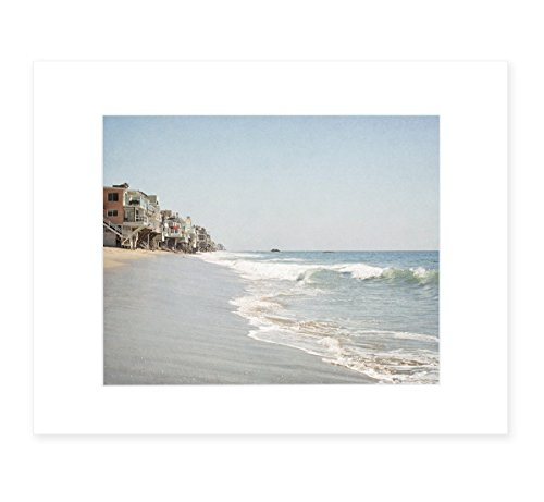 Malibu Beach House Wall Art, California Coastal Beach Decor, 8x10 Matted Print 'Ocean View' (California Framed Photograph)