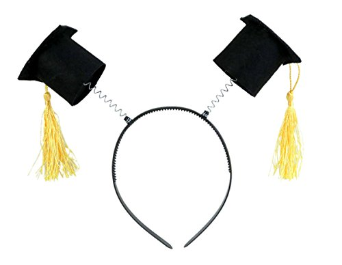 Black Graduation Cap with Gold Tassels Party Headband Bopper -