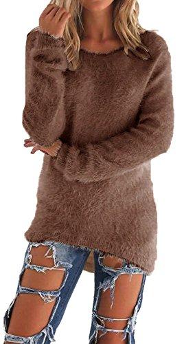 Vídeo de esquí para mujer Irregular de manga larga Top Casual Jumper Pullover marrón