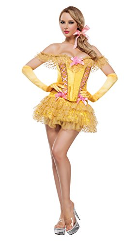 [Starline Women's Enchanted Castle Beauty 3 Piece Corset Costume Set, Yellow, Medium] (Sexy Princess Belle Costumes)