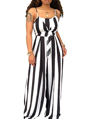 Women's Spaghetti Strap Sleeveless Wide Leg Long Pants Cut Out Back Striped Casual Jumpsuits Rompers Black