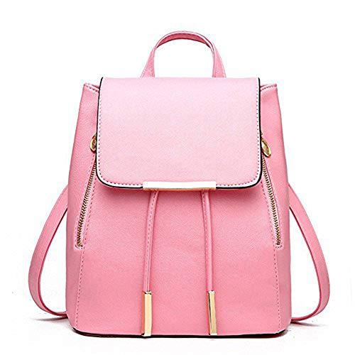 Ladies Pink PU Rucksack Shoulder Bag Fashion Girls Travel Leather bag Women Backpack Huabor 8pOwq