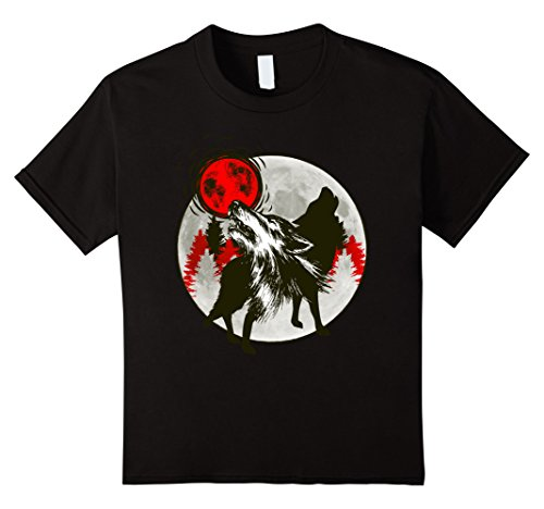 Wolves Howling At The Moon (Kids Wolves Howling At Red Moon Silhouette Wildlife Gift T-Shirt 12 Black)
