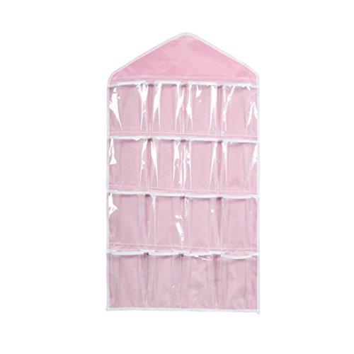 - Cinhent Bag 16 Transparent Pockets Portable Convenient and Lightweight Clear Hanging Closet, Socks Bra Underwear Rack Organizer Hanger Polyester Storage Bag (Pink)