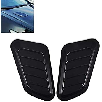 Black Acouto 2PCS Car Decorative Air Scoop Flow Intake Vent Hood Cover Bonnet Universal
