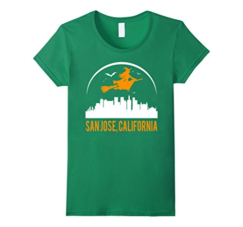 Halloween Costumes San Jose (Womens Witch Of California's City San Jose Cool Funny T-shirt Large Kelly Green)
