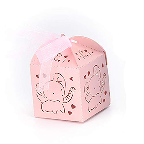 50 Pack Pink Elephant Girl Baby Shower Decoration Laser Cut Paper Party Treat Box Wedding Girl Birthday Gifts Wrapping Candy Buffet Table Centerpices ()