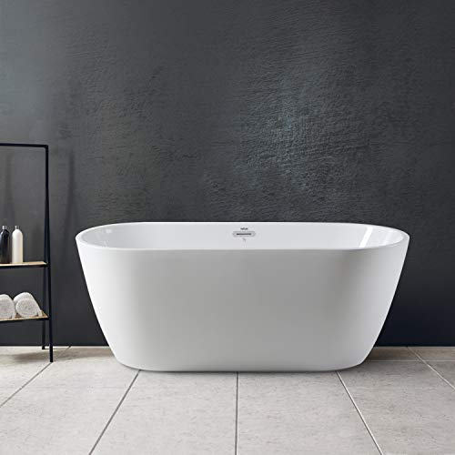 """FerdY 59"""" Gracefully Shaped Freestanding Soaking Bathtub, Glossy White 2019 All New Oval, cUPC Certified, Drain & Overflow Assembly Included"""
