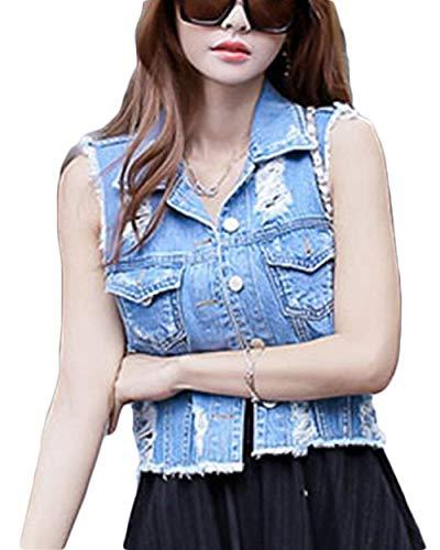 Chaleco Vaqueros Bild Vintage De Mangas Jacket Mujer Als Agujeros Primavera Cazadoras Rasgado Casuales Otoño Denim Sin Solapa Slim Fit Vaqueras FPqgvwWg