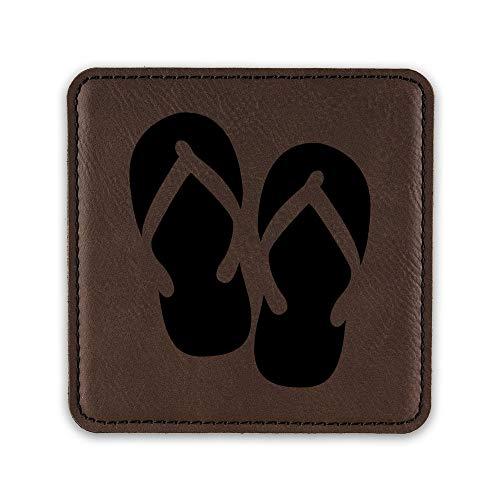 Flip Flops Drink Coaster Leatherette Coasters hawaiian beach - Dark Brown - Set of Six Coasters