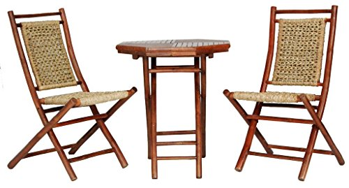 Heather Ann Creations The Maui Collection Contemporary Style Bamboo Wooden 3-Piece Table and Chairs Outdoor Patio Bistro Dining Set, Brown (Bamboo Dining Table And Chairs)