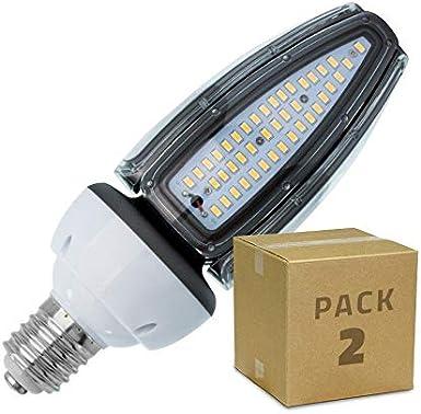 LEDKIA LIGHTING Pack Lámpara LED Alumbrado Público Corn E40 50W IP65 (2 un) Blanco Neutro 4500K - 5000K: Amazon.es: Iluminación