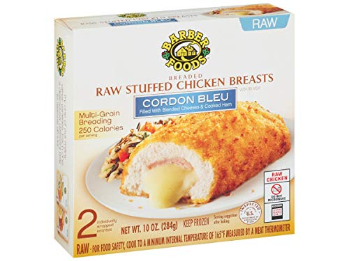 Barber Foods Cordon Bleu Stuffed Chicken Breast - Entree, 5 Ounce - 2 per pack -- 12 packs per case.