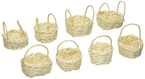 ArtVerse DAR012HB1 Mini Willow Bleached Basket, 8 Pieces, 1.7 cm Height, 2.5 cm Wide, 5.1 cm Length