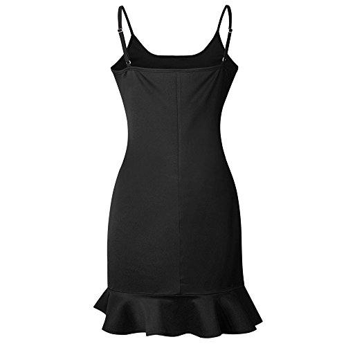 Dress Women On Club Bodycon Sale Evening Party Black Lady Mini Sleeveless Clearance Dresses Ruffle wCzZxngqwA