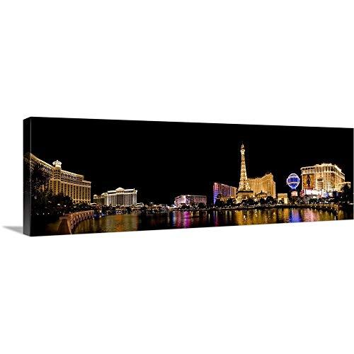 - NV, Las Vegas. Panoramic View Over The Bellagio Lake Canvas Wall Art Print, 60