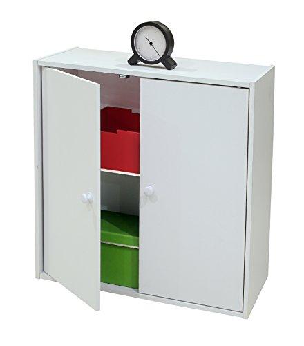 [Kings Brand Furniture 2 Door Storage Organizer Bookcase, White] (Two Door Cabinet)