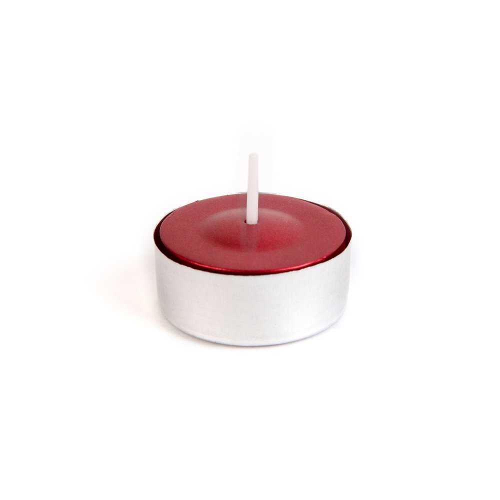 Zest Candle CTZ-042_12 600-Piece Tealight Candle, Metallic Red