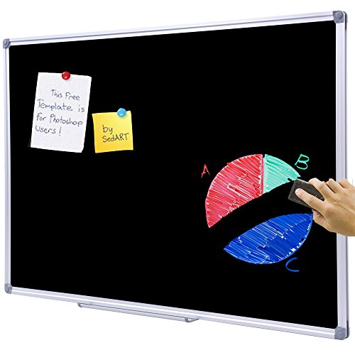 48 x 36 inch School Large Chalkboard for Wall, Hanging Magnetic Black Dry Erase Board with Aluminum Frame and Marker Tray
